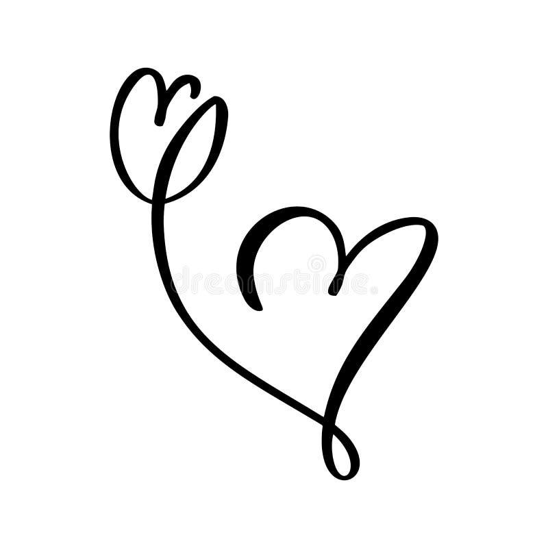 Ręka rysująca dwa Kierowy i tulipanowy kwiat miłości znak Romantycznej kaligrafii ilustracyjny wektor walentynki Concepn ikony sy ilustracji