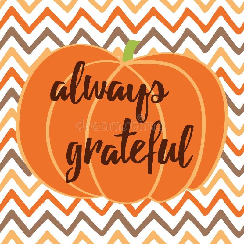 Ręka rysująca dziękczynienie jesieni karta z banią na zygzakowatym tle ilustracji