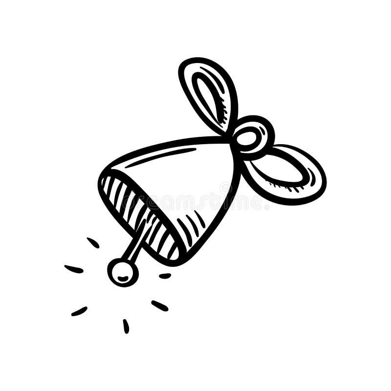Ręka rysująca dzwonkowa doodle ikona Ręka rysujący czarny nakreślenie szyldowy symbol Dekoracja element Biały tło odosobniony Pła ilustracji