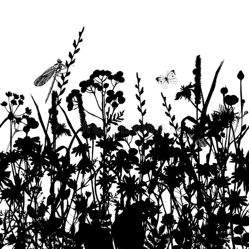 Ręka rysująca granica z ziele i kwiatami ilustracja wektor