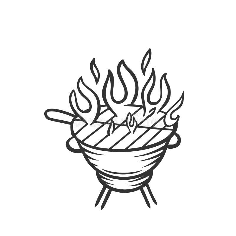 Ręka rysująca grill ikona royalty ilustracja