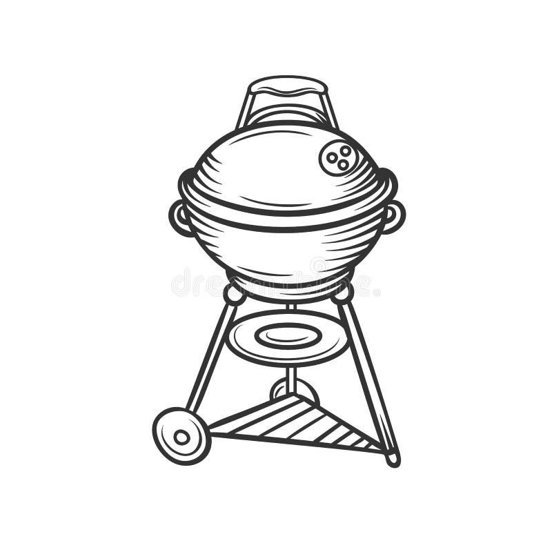 Ręka rysująca grill ikona ilustracji
