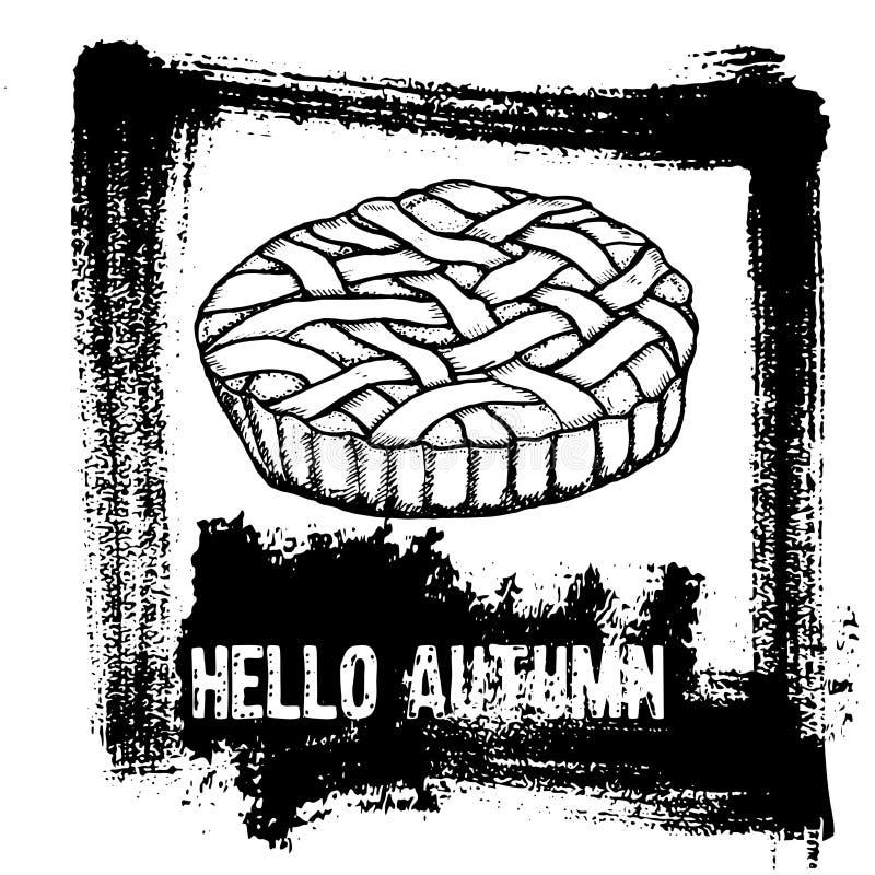 Ręka rysująca grunge wektoru ilustracja Jabłczany kulebiak, tekst Aut Cześć royalty ilustracja