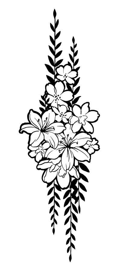 Ręka rysująca grupa z kwiatami i liście dla dekorujemy ilustracji