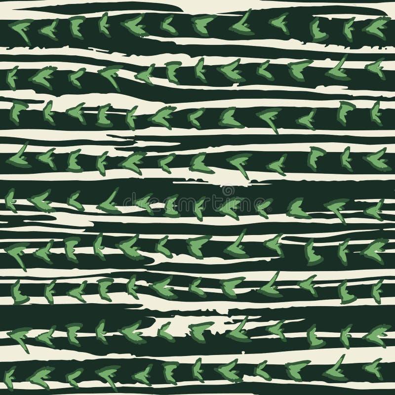 Ręka rysująca horizontally paskował projekt z spiky organicznie formami Kaktusowej skóry inspirowany bezszwowy wzór royalty ilustracja