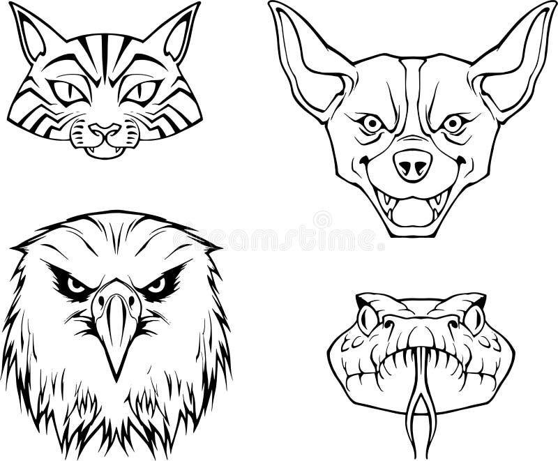 Ręka rysująca ilustracja cztery zwierzęcej twarzy royalty ilustracja