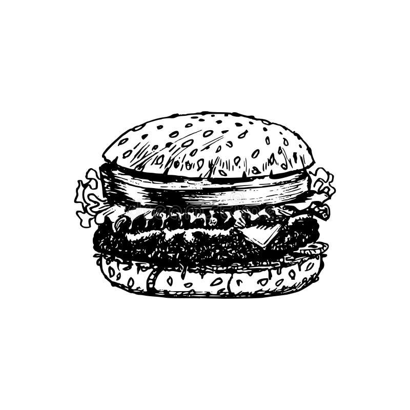 Ręka rysująca ilustracja klasyczny hamburger Wektorowy fasta food symbol Bistro ikona Uliczny knajpa plakat ilustracja wektor