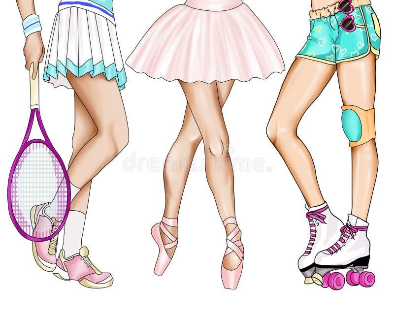 Ręka rysująca ilustracja - nogi dziewczyny ćwiczy sport royalty ilustracja