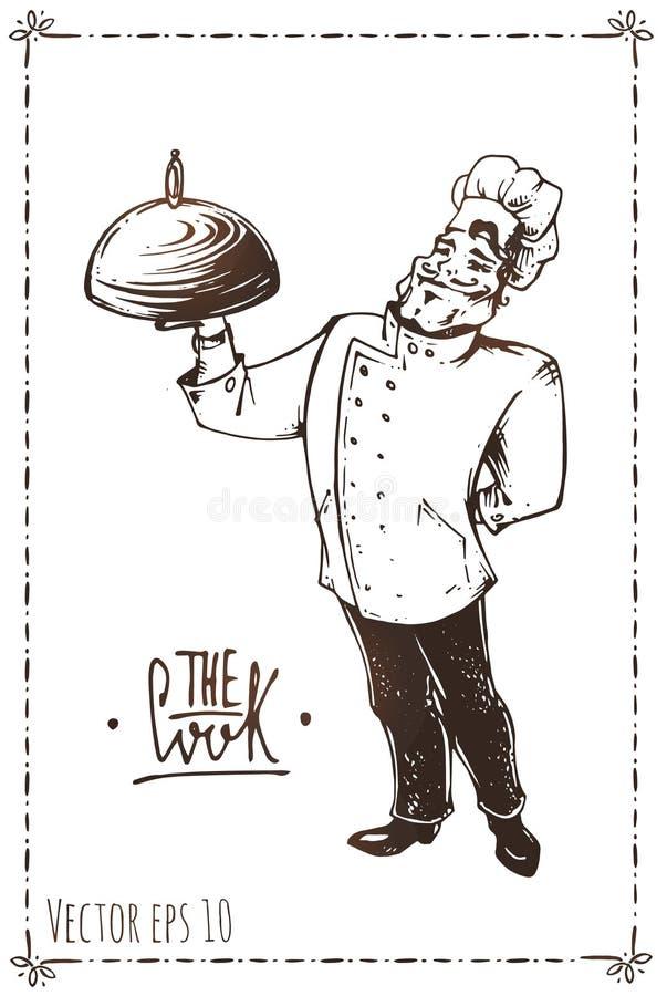 Ręka rysująca ilustracja szef kuchni california plakatowy parostatków rocznik ilustracja wektor