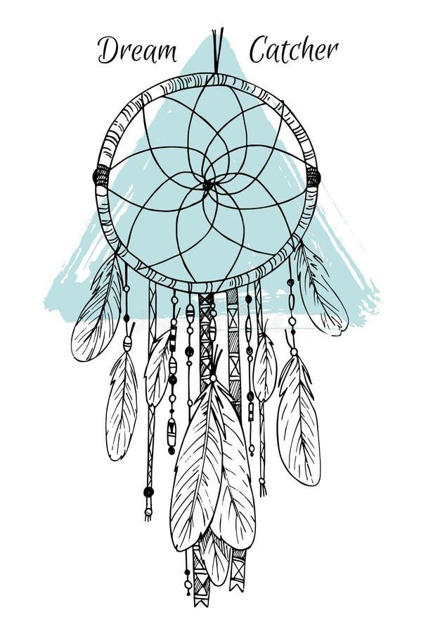 Ręka rysująca ilustracja - Wymarzony łapacz Plemienny projekta element ilustracja wektor