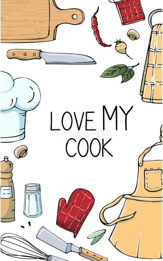 Ręka rysująca ilustracja z Kuchennymi naczyniami Faktyczny wektorowy rysunek coocking narzędzia i wycena Kreatywnie doodle stylu  ilustracji
