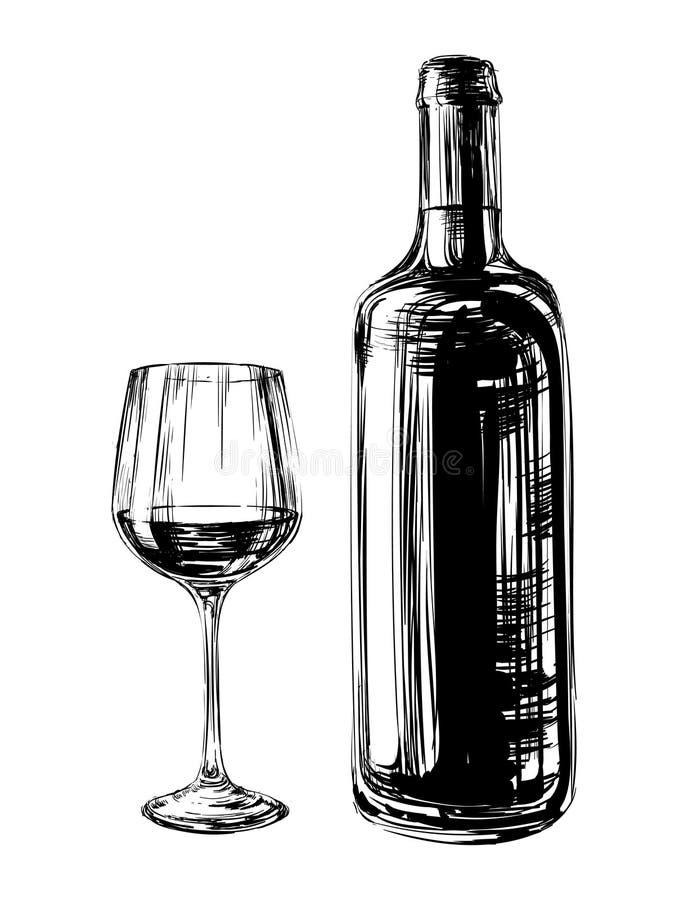 Ręka Rysująca Ilustracyjna wino butelka i szkło obraz royalty free