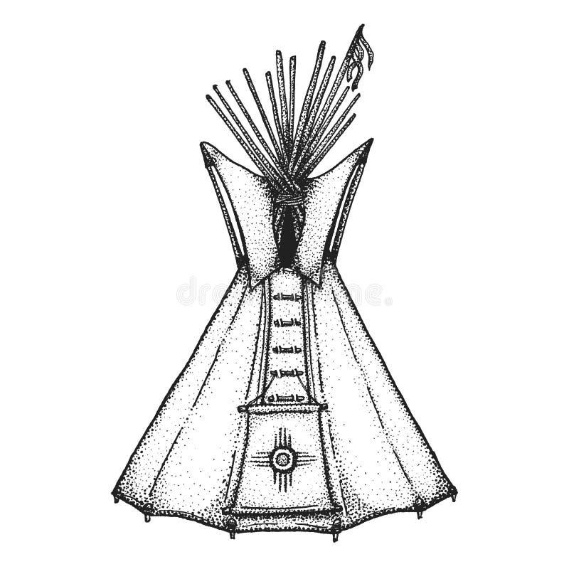Ręka rysująca indyjska tipi rocznika ilustracja royalty ilustracja