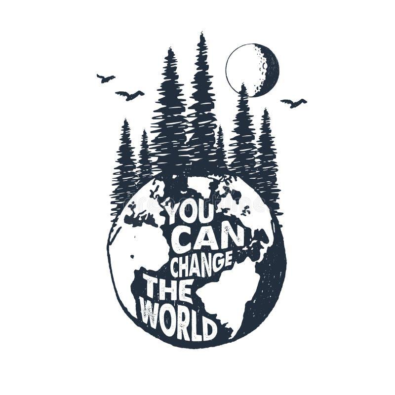 Ręka rysująca inspiracyjna odznaka z textured planety ziemi wektoru ilustracją ilustracja wektor