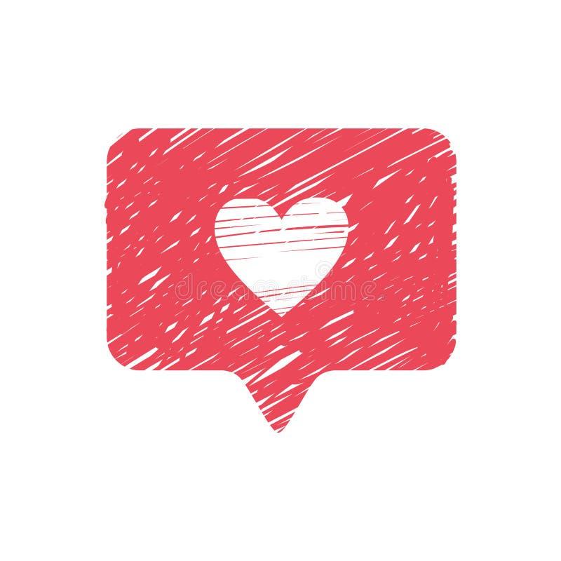 Ręka rysująca jak ikona Biały serce na czerwonym wiadomości okno Jak ikona ilustracji