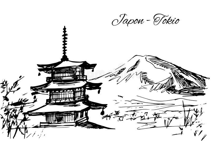 Ręka rysująca japońska kondygnaci pagody scena royalty ilustracja