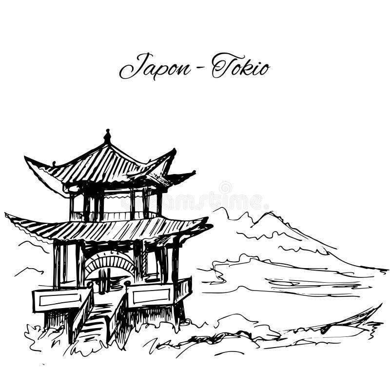 Ręka rysująca japońska sklep pagody scena royalty ilustracja