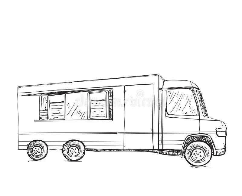 Ręka rysująca jedzenie ciężarówka tło pracownik pudełkowaty doręczeniowy przystojny odosobniony nadmierny usługowy biały ilustracji