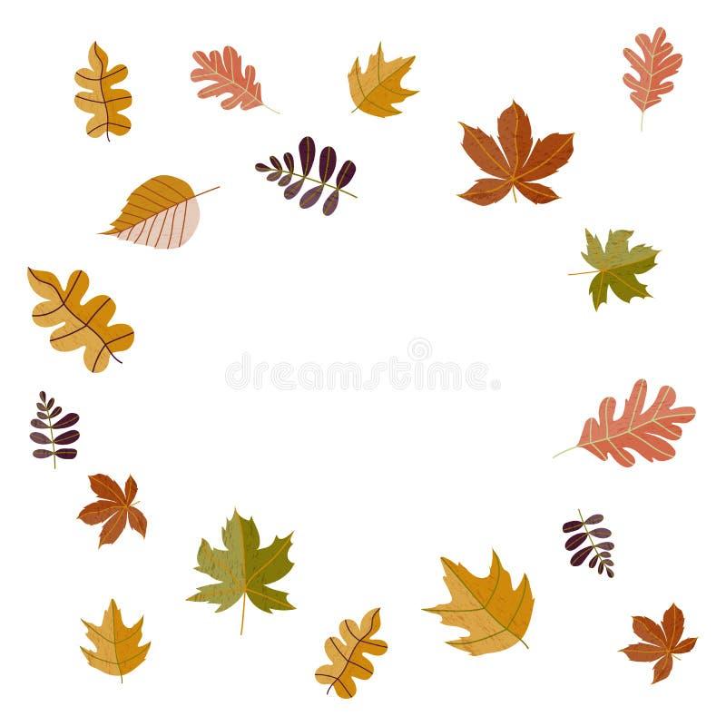 Ręka rysująca jesień przyprawia wakacyjnych doodles z kolorowymi liśćmi w formie odizolowywającej na bielu okrąg również zwrócić  royalty ilustracja