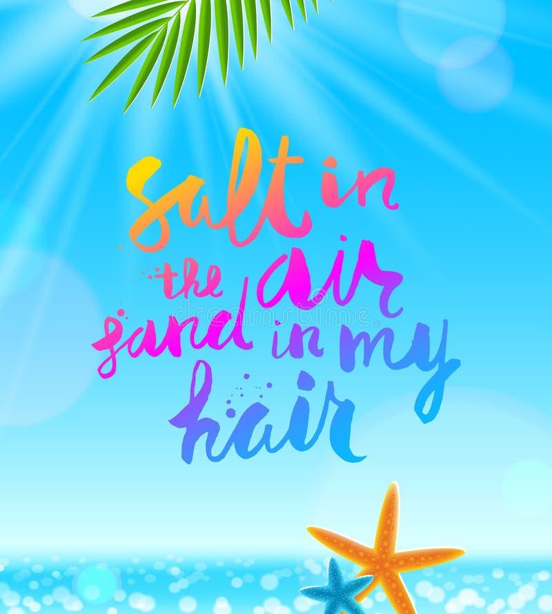 Ręka rysująca kaligrafia na tropikalnym dennym tle z drzewko palmowe rozgwiazdami i gałąź Wakacje letni i wakacje ilustracji
