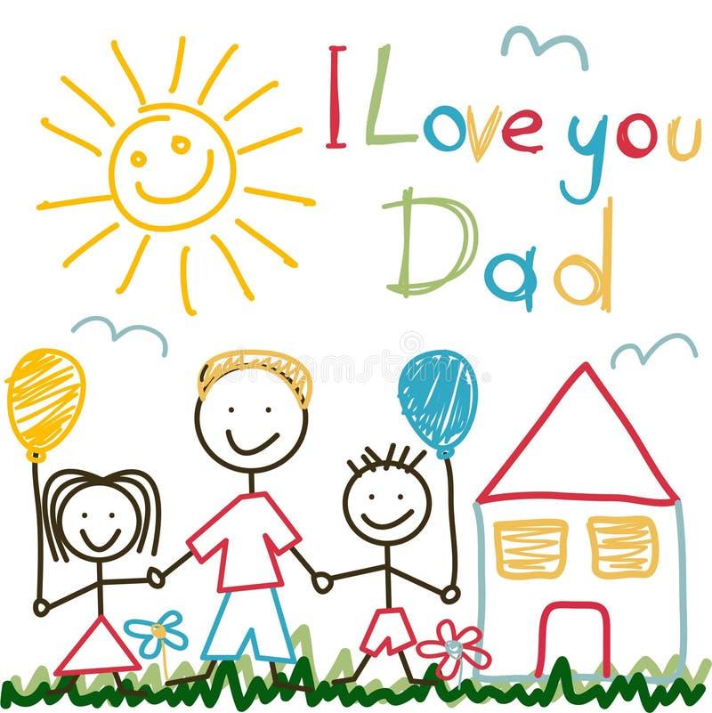 Ręka Rysująca karta dla ojca dnia royalty ilustracja