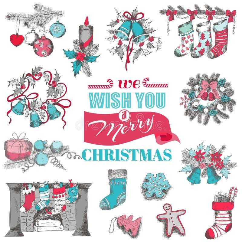 Ręka Rysująca kartka bożonarodzeniowa ilustracja wektor
