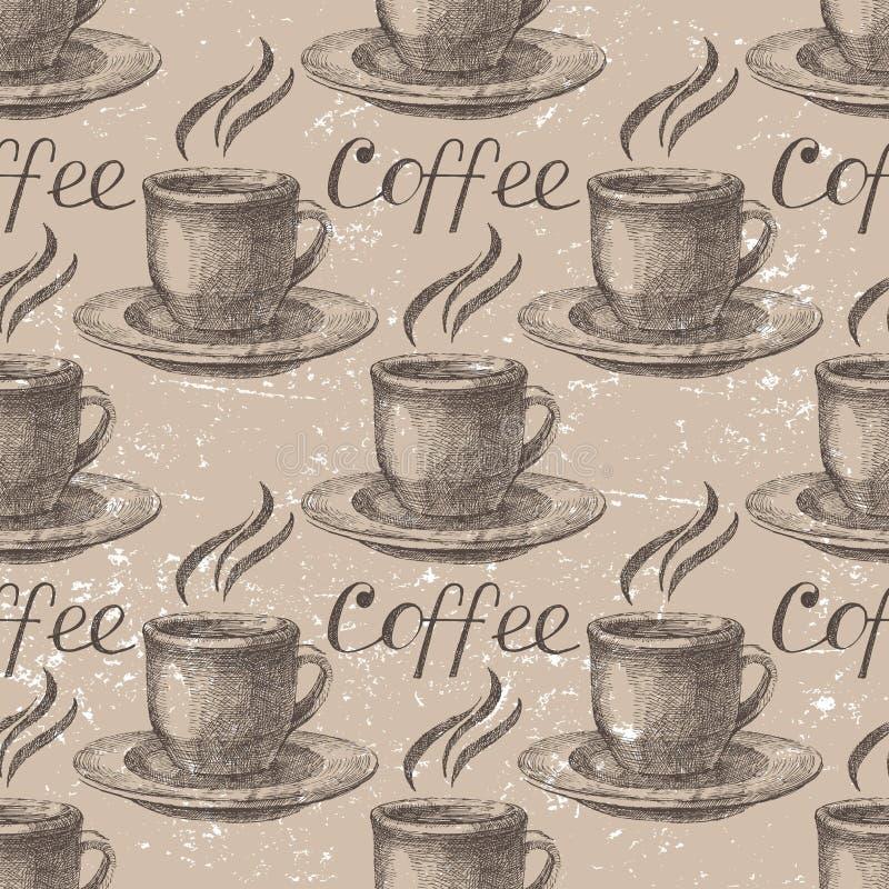 Ręka rysująca kawa bezszwowa royalty ilustracja