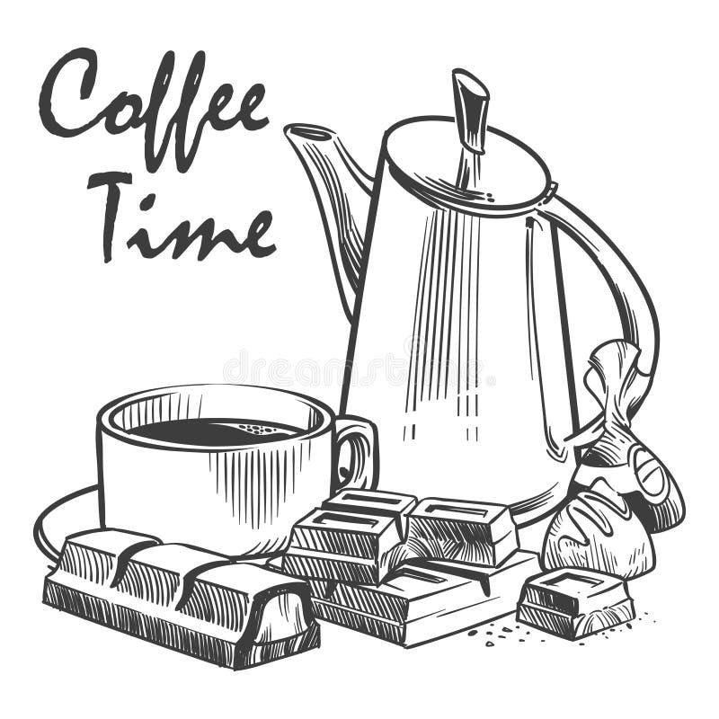 Ręka rysująca kawowa czasu wektoru ilustracja Filiżanka kawy, czekolada ilustracji
