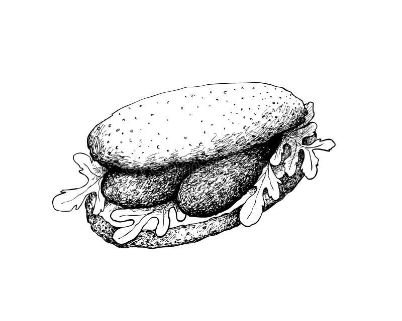 Ręka Rysująca Kiełbasiana kanapka na Białym tle ilustracji