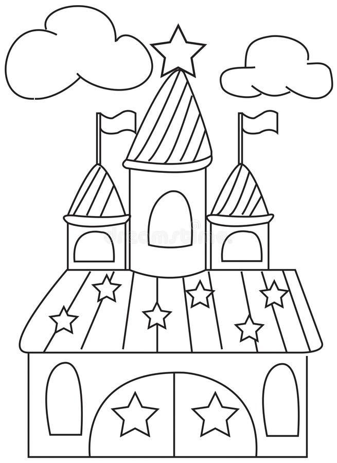 Ręka rysująca kolorystyki strona gwiazdowy kasztel