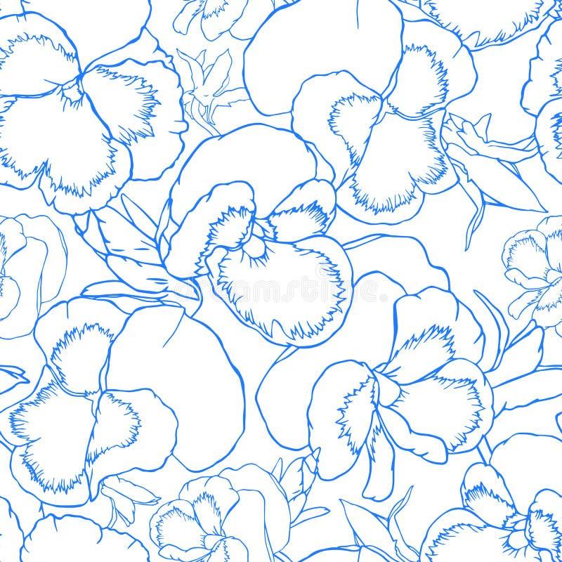 Ręka rysująca kontur altówka kwitnie bezszwowego wzór dla tkaniny, tapety i tekstylnego projekta, royalty ilustracja