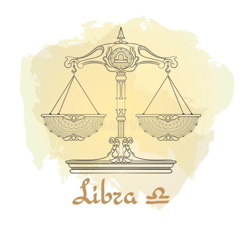 Ręka rysująca kreskowa sztuka dekoracyjny zodiaka znaka Libra royalty ilustracja