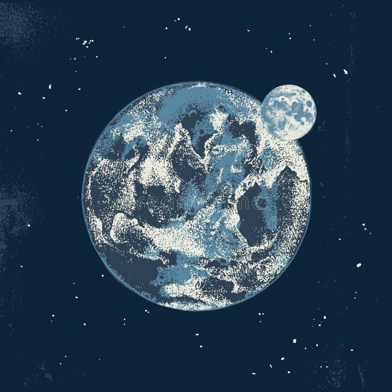 Ręka rysująca księżyc i ziemia ilustracji