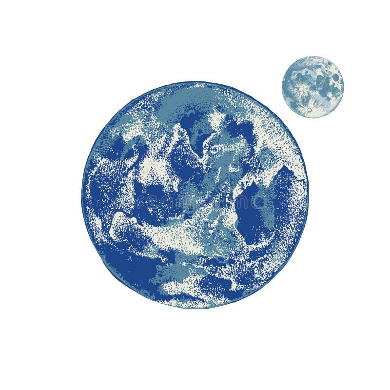 Ręka rysująca księżyc i ziemia ilustracja wektor