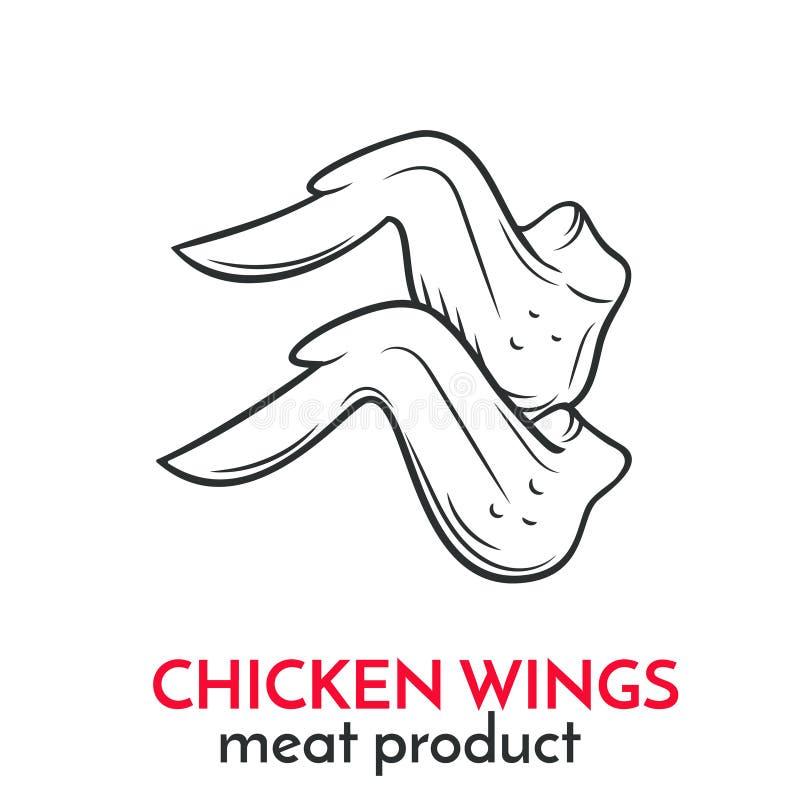 Ręka rysująca kurczaków skrzydeł ikona ilustracji