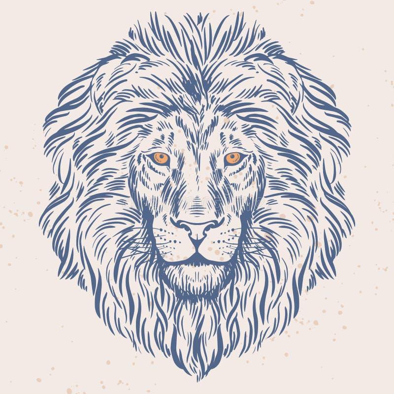 Ręka rysująca lew głowy ilustracja ilustracji