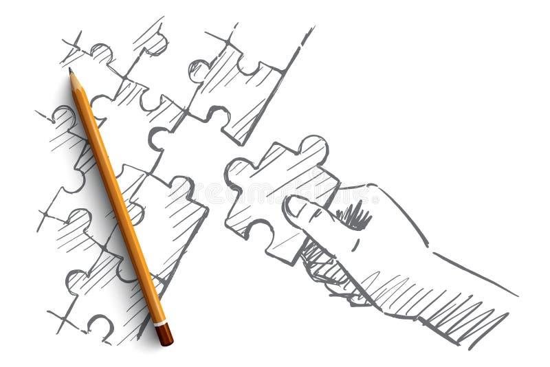 Ręka rysująca ludzka ręka uzupełnia łamigłówkę royalty ilustracja