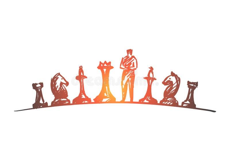Ręka rysująca mężczyzna pozycja między bierkami ilustracja wektor