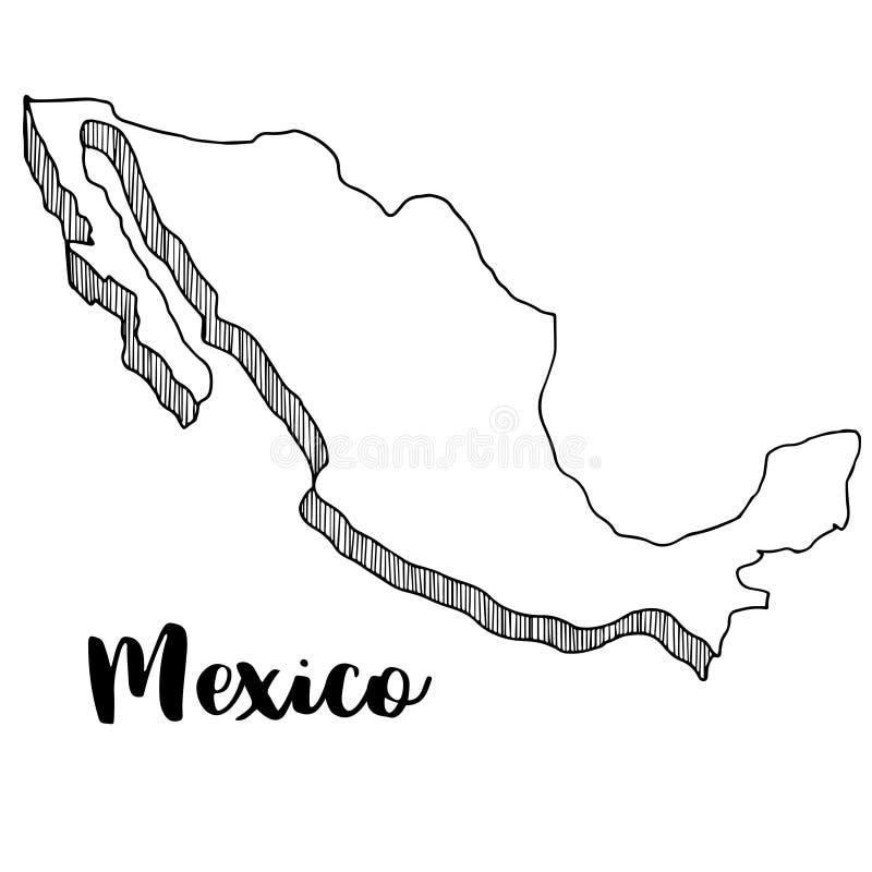 Ręka rysująca Meksyk mapa, ilustracja royalty ilustracja