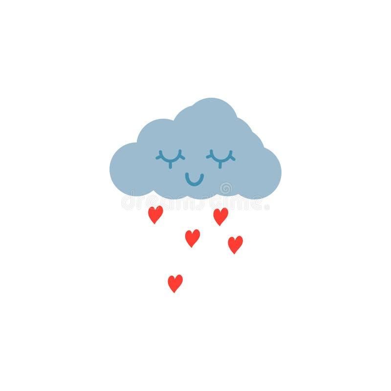 Ręka Rysująca menchii miłości chmura royalty ilustracja