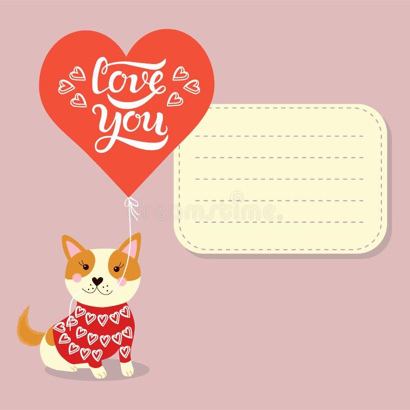 Ręka rysująca miłość ty typografii literowania plakat z ślicznym małym Akita psa szczeniakiem w miłości ilustracji
