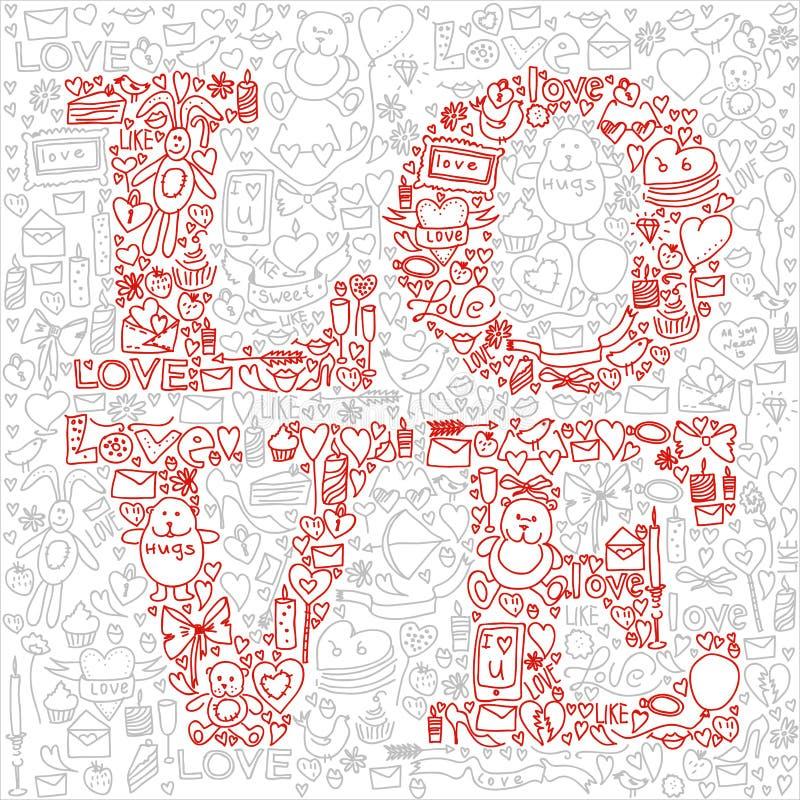 Ręka rysująca miłości doodle ikon wektoru ilustracja royalty ilustracja