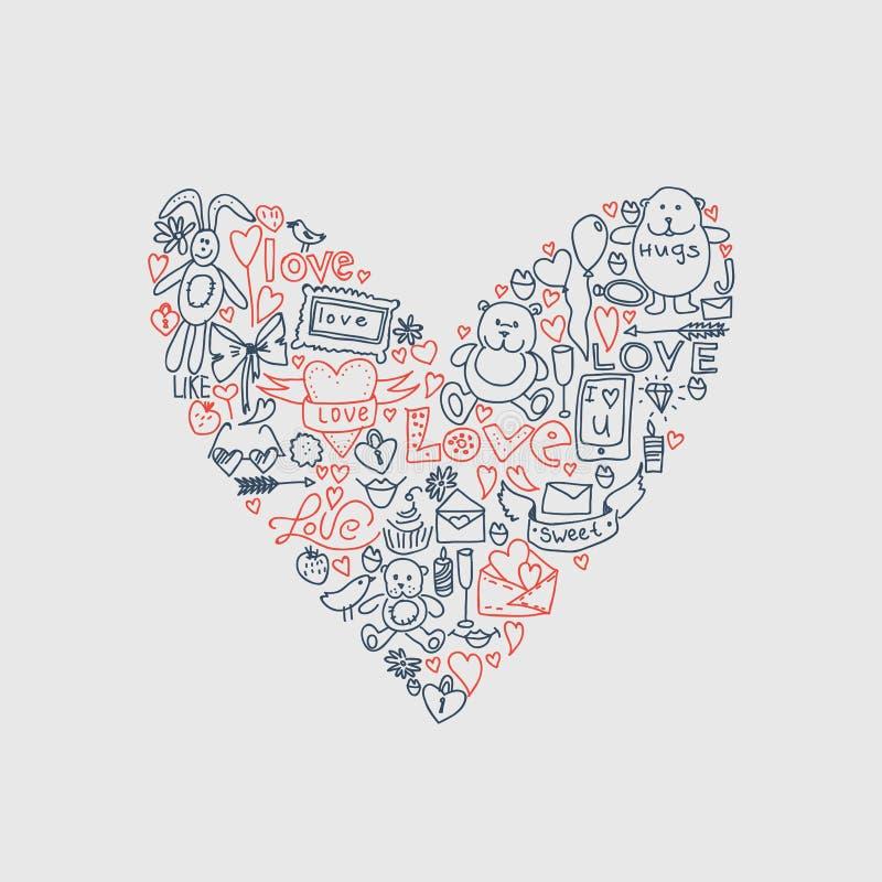 Ręka rysująca miłości doodle ikon wektoru ilustracja ilustracji