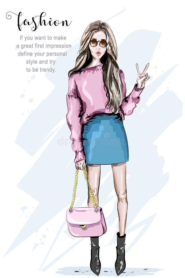 Ręka rysująca mody kobieta w okularach przeciwsłonecznych Elegancka piękna młoda kobieta z torbą nakreślenie ilustracja wektor