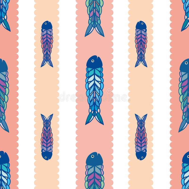 Ręka rysująca multicolor ryba w geometrycznym ludowej sztuki stylu Bezszwowy wektoru wzór na białym tle z scalloped koralem ilustracji