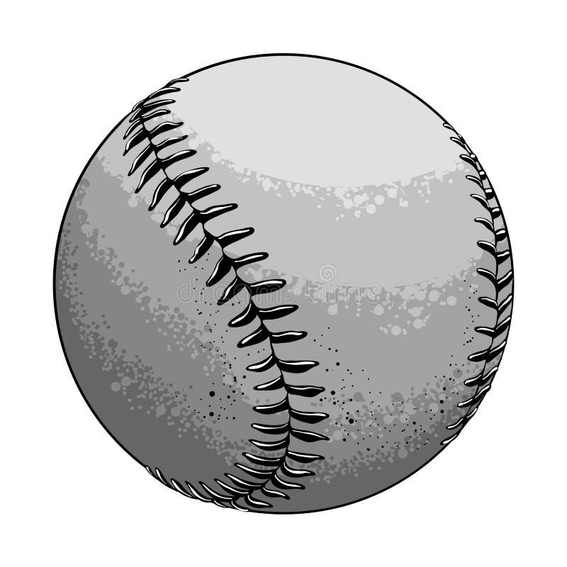 Ręka rysująca nakreślenie baseballa piłka w czarny i biały kolorze, odosobnionym na białym tle Szczegółowy rysunek w stylu royalty ilustracja