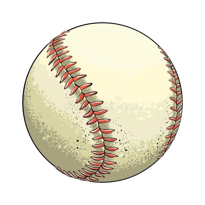 Ręka rysująca nakreślenie baseballa piłka w kolorze, odosobnionym na białym tle Szczegółowy rysunek w stylu rocznika wektor royalty ilustracja