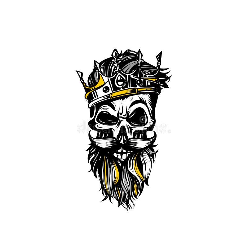 Ręka rysująca nakreślenie czaszka z korona wektoru ilustracją royalty ilustracja
