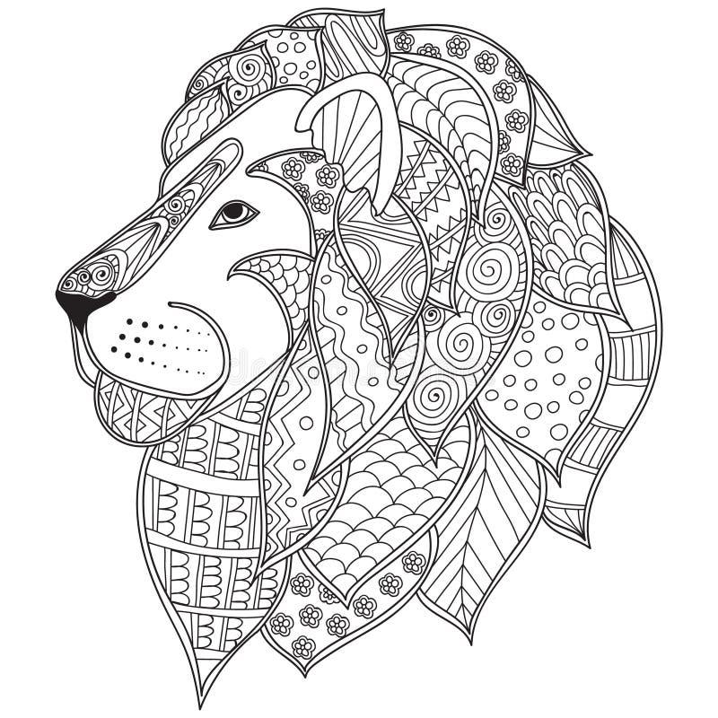 Ręka rysująca ornamentacyjna konturu lwa głowy ilustracja dekorująca z abstrakcjonistycznymi doodles royalty ilustracja