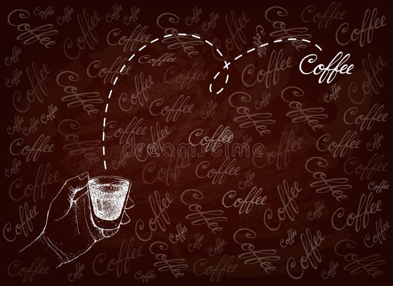 Ręka Rysująca osoba Trzyma A Strzelający kawa ilustracja wektor